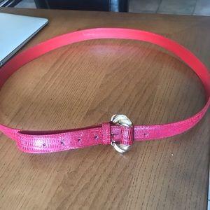 Ladies red GENUINE LEATHER belt